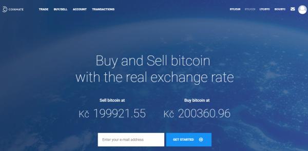 Webová stránka burzy Coinmate