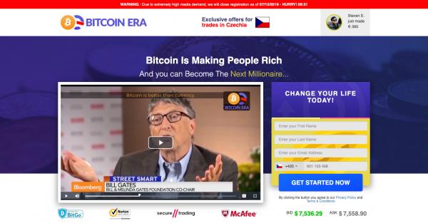 Webová stránka Bitcoin Era